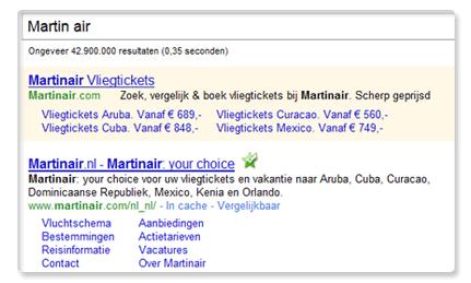 Martin Air-merknaam doet het prima in de organische resultaten